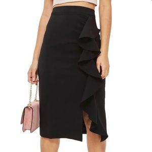 NEW Topshop Ruffle Midi Slit Skirt Black Size 2